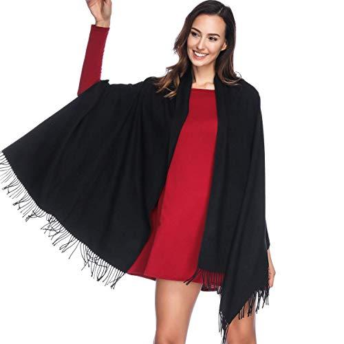 HOYAYO Einfarbiger Kaschmir schal für Frauen,Damen Umschlagtuch Pashmina Schal Tuch Stola L 1-schwarz