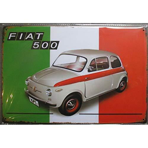 hotrodspirit–Placa tole Fiat 500Bandera Italiana Aspect vieillit 30x 20cm tole Pub Garaje Diner Loft