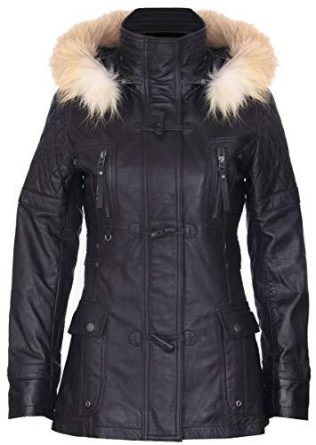 Infinity Leather Frauen Schwarze Gesteppte Leder Parka Jacke Mit Abnehmbarer Kapuze M