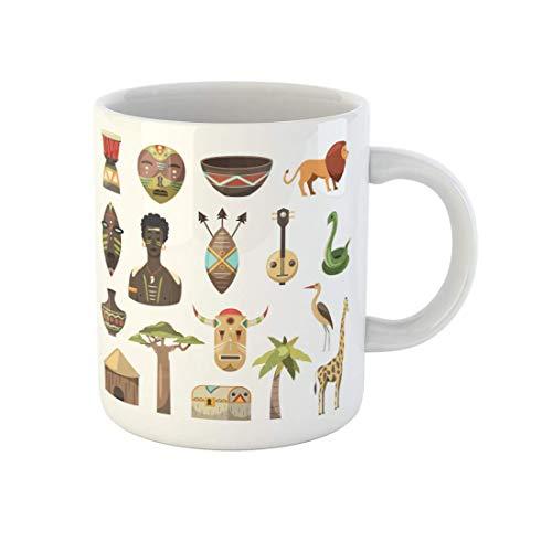 N\A Taza de café África Imágenes africanas Máscara de Jirafa Hombre Serpiente Jarrón León Taza de té de cerámica de 11 onzas Recuerdo para Familiares, Amigos, compañeros de Trabajo