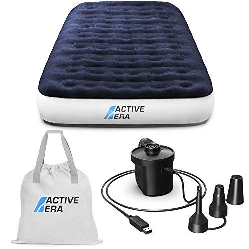 Active Era Luxus Camping Einzel Luftbett mit elekrischer Luftpumpe - Luftmatratze für 1 Person mit tragbarer Akku Luftpumpe und USB Ladekabel, integriertem Kissen und Tragetasche - 99 x 203 x 22 cm