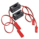 2 Pack ShareGoo On/off Power Switch Battery Receiver JST Connector for HSP RC 1/10 1/8 Car Crawler Buggy Multicopter Airplane -Red