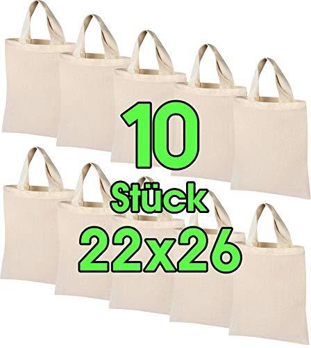 Sac en coton 10 pièces 22x26 cm petit - sac en jute - sac de pharmacie naturel, sac fourre-tout, pochette, sac cadeau Sac en tissu certifié ÖKO-TEX®, pour médicaments pour peinture et impression