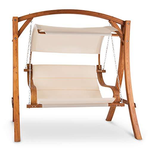 blumfeldt Maui Gartenschaukel - Hängesessel, Hollywoodschaukel, 110 cm Sitzfläche, praktisches Sonnendach, robuste Edelstahl-Ketten, witterungsbeständig, bis 250 kg belastbar, beige