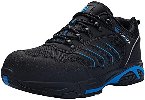 LARNMERN Zapatos de Seguridad Hombre Mujer con Punta de Acero Ligero Antideslizante Antiestático Cómodo Zapatillas Seguridad Transpirablesin Cordones Trabajo,45 EU Azul Negro