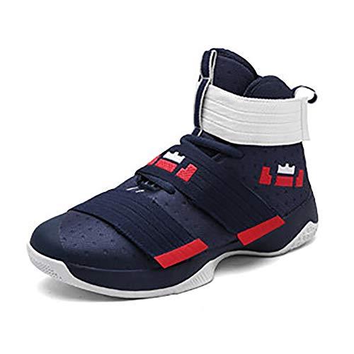 XIGUAFR Chaussure de Basketball Homme Montante Respirant Chaussure de Sport Outdoor Antichoc Résistant à l'usure Bleu Rouge 43