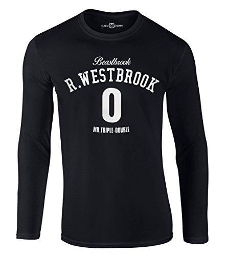 Russell Westbrook Langarmshirt Beastbrook Long Sleeve Shirt 0 Mr.Triple-Double OKC Thunder Basketball (M, Schwarz)