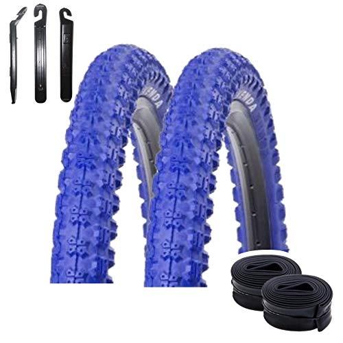 Angebot-Set / 2 x Kenda K-51 Fahrradreifen BMX Reifen Mantel Decke Blau 20 x 2.25-58-406 + 2 passende Schläuche AV inkl. 3 Reifenheber