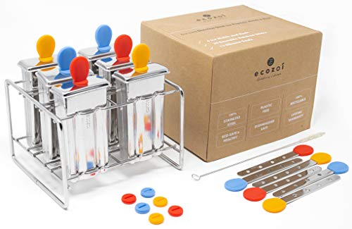 ecozoi Stainless Steel Popsicle Molds and Rack - 6 Ice Pop Makers + 6 Reusable Steel Sticks + 12 Silicone Seals + 1 Coconut Cleaning Brush +1 Rack
