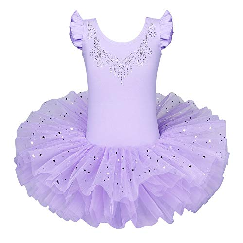 BAOHULU Ballet Leotards for Girls Full Skirted Dance Tutu Dress Party Costumes B184_Purple_M