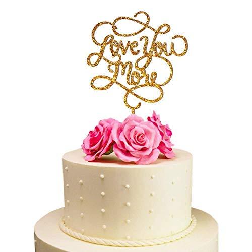 Soode Love You More Bruidstaart Topper Spiegel Goud/Zwart Acryl Taart Topper voor Bruiloft/Verjaardag/Event Party Decoratie