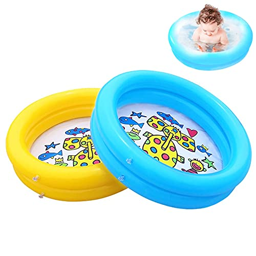 Jsdoin Inflatable Pool Foldable Kids Paddling Pool with Air Pump Outdoor Swimming Pool for Backyard Home, Garden, Summer Safety Non-Slip Outdoor Bathing Pool 65x16cm (2 pack)