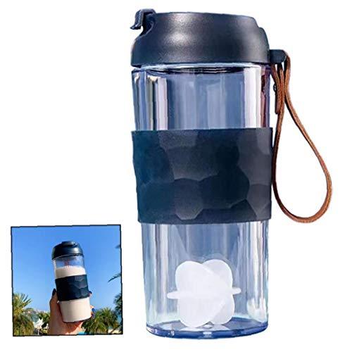 iHOMIKI 1pc Shake Copa con densamente Transparente proteína Material plástico para Polvo de Mezcla Sports Cup Copa de Agua portátil de café Taza de la marina-400ml