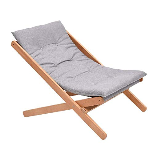 WJJJ Komfortable Holz Relax Stuhl Grau Lehnstühle Klapp Schaukelstuhl Sommer Stuhl Nickerchen Bett Balkon Freizeit Bambus Studie Klappbett