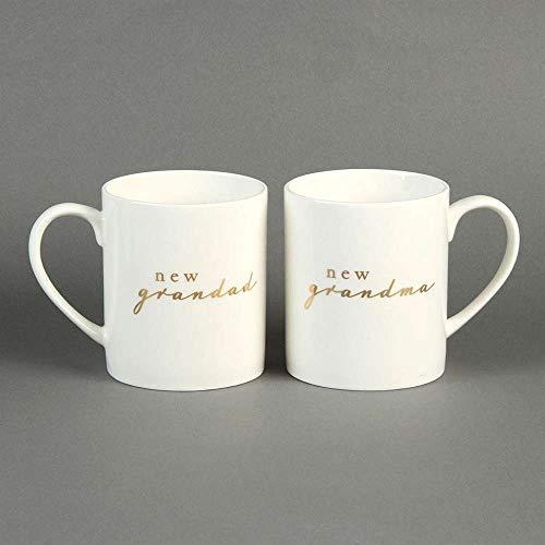 """Bambino Set de regalo de dos tazas de cerámica con texto """"New Grandma"""" y """"New Grandad"""""""