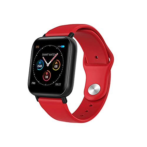 Smart Watch Full Screen Touch Heart Rate Blood Pressure Sleep Monitor Bluetooth Sports Bracelet-Red