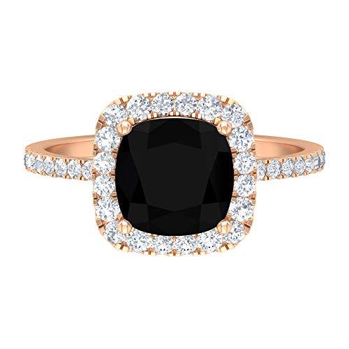 Anillo solitario de ónix negro de 8 mm de corte cojín, D-VSSI Moissanite Halo, anillo de compromiso de oro, anillo de piedras laterales (calidad AAA), 14K Oro rosa, Size:EU 51