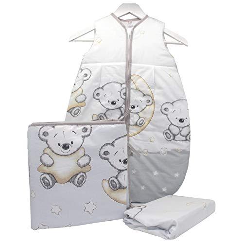Callyna ® - Set lit bébé 3 pcs Tour de lit, gigoteuse, drap housse. Pour coton sans colorant chimique. 100% Union Européenne. Ourson Gris Beige