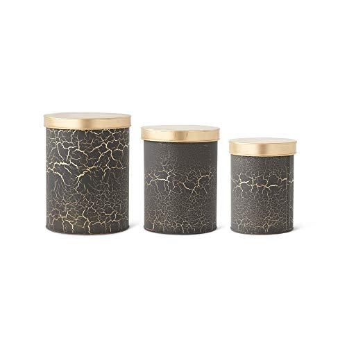 K&K Interiors 15682A Set mit 3 schwarzen & goldfarbenen Dosen mit Deckeln, schwarz/goldfarben