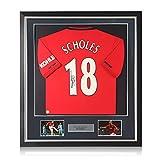 exclusivememorabilia.com Maglia del Manchester United autografata da Paul Scholes. Cornice Deluxe
