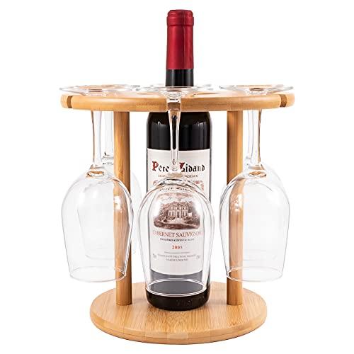 Roponan Portabicchieri da Vino per 6 Bicchieri e 1 Bottiglia, Porta Bottiglie di Vino per Gli Amanti del Vino o per Gli Ospiti di Feste o Banchetti, Bambù Naturale