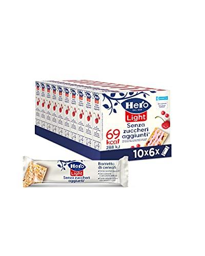 Hero Light barrette ai cereali e Frutti Rossi, 10 confezioni da 6 barrette X 20 gr, senza olio di palma, zero conservanti, zero coloranti, senza zuccheri aggiunti - 1200gr