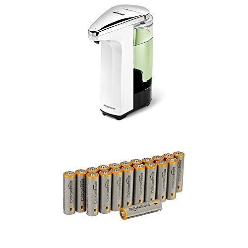 simplehuman ST1018 Sensorspender mit Seifenprobe, 237 ml, Plastik, Weiß, 14.50 x 7.00 x 17.40 cm mit Amazon Basics Batterien