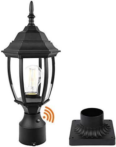 PARTPHONER Dusk to Dawn Outdoor Post Light with Pier Mount Base Waterproof Pole Lantern Light product image