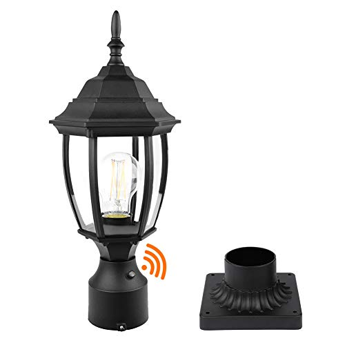 PARTPHONER Dusk to Dawn Outdoor Post Light with Pier Mount Base, Waterproof Pole Lantern Light Fixture, Exterior Lamp Post Lantern Head with Clear Glass Panels for Garden, Patio, Pathway (6 Inch)