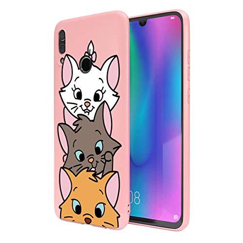 ZhuoFan Cover Honor 10 Lite, Custodia Cover Silicone Rosa con Disegni Ultra Slim TPU Morbido Antiurto 3D Cartoon Bumper Case Protettiva per Honor 10 Lite, 3 Cat