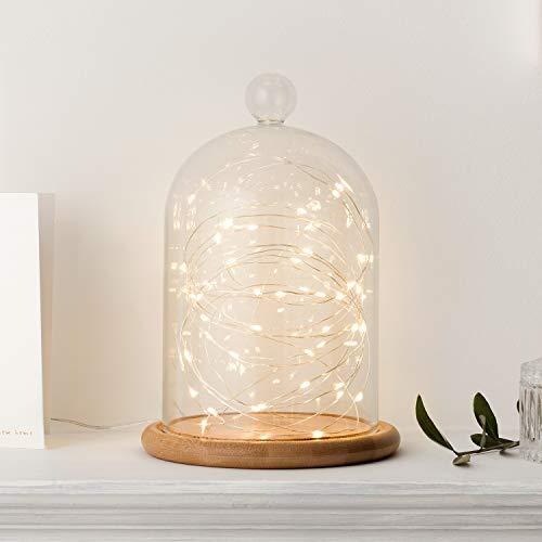 Lights4fun Campana de Cristal Alta 21cm con Base de Bambú y Micro LED de Luz Blanca Cálida