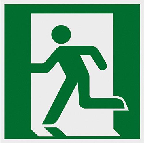 Metafranc Hinweisschild Symbol: Notausgang links - 150 x 150 mm - nachleuchtend / Beschilderung / Rettungsweg / Fluchtweg / Notausgang / Sicherheitsmarkierung / Gewerbekennzeichnung / 503800
