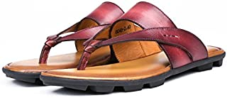Fashion Genuine Leather Man Slippers Non-Slip Men Flip Flops Casual Summer Flat Heel Beach Sandals Shoes for Male Size 38-44 EU (Color : Red, Size : 7-MUS)