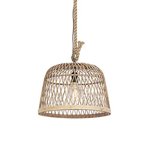 QAZQA Landhaus/Vintage/Rustikal/Landhaus/Vintage Rattan Hängelampe - Calamus/Innenbeleuchtung/Wohnzimmerlampe/Schlafzimmer/Küche/Stahl Rund LED geeignet E27 Max. 1 x 60 Watt