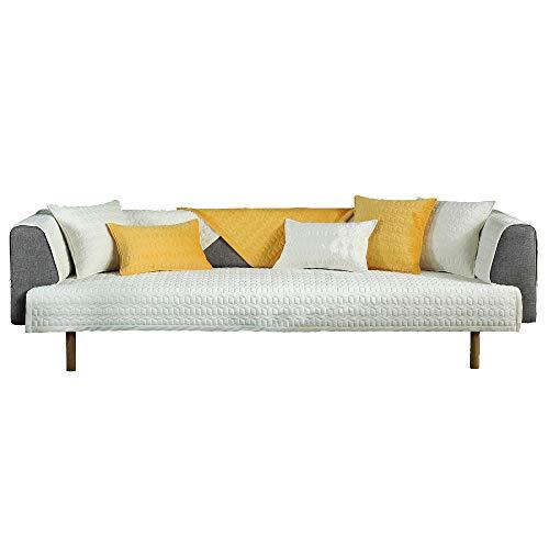 YUTJK Salón de sofá,Fundas de Asiento de sofá de Tela para Sala de Estar,Funda Protectora de Muebles,Funda de sofá de Felpa Gruesa súper Suave,para sofá de 1/2/3/4 plazas,Blanco_110×240cm