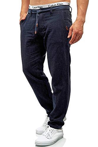 Indicode Herren Arona Stoffhose aus Baumwolle & Leinen mit 4 Taschen | Lange Regular Fit Hose Herrenhose Baumwollhose Leinenhose Kordel-Gürtel Sommerhose Freizeithose für Männer Navy M