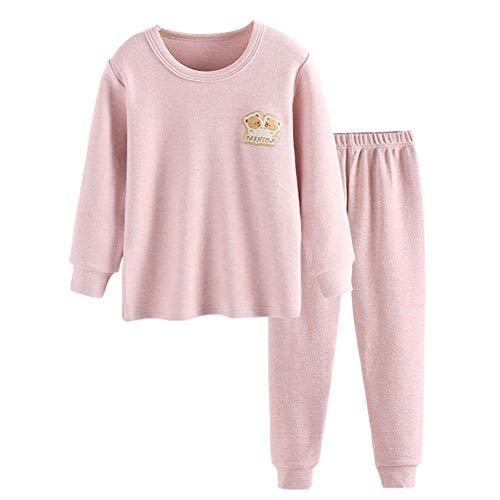 JWWN Little Girls Pajamas Set 2PCS Thermal Underwear Kids Pjs Sleepwear,(Pink,7T)