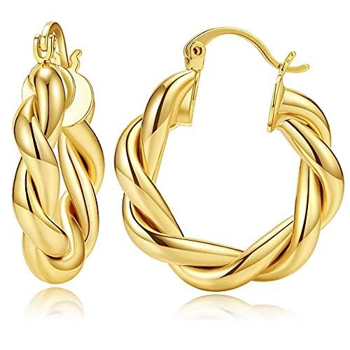 Pendientes pequeños de aro trenzados chapados en oro de 14 quilates, hipoalergénicos, de plata de ley, con poste ligero..