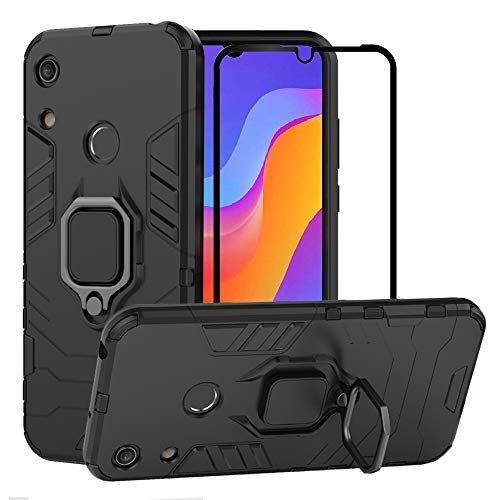 BestAlice for Huawei Honor Play 8A / Honor 8A / Y6 2019 case, Hybrid Heavy Duty Protection Shockproof Defender Kickstand Armor Case Cover Tempered Glass Screen Protector,Black