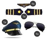 Juego de piloto capitán carnaval para hombre disfraz con rayas en los hombros, gorra de piloto, gorra de piloto, insignia para disfraz de piloto