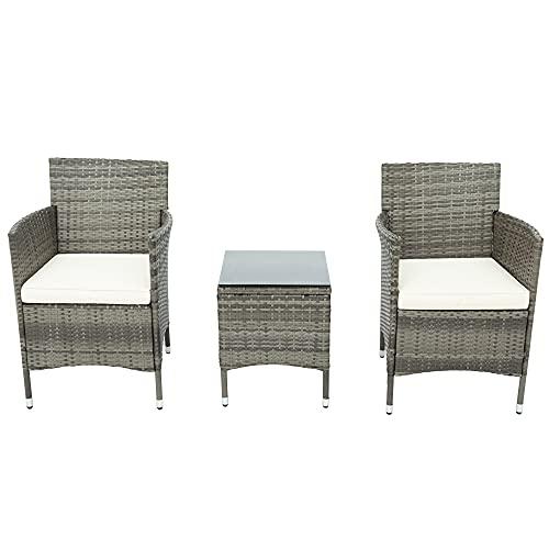 ZOEON Polyrattan Balkonmöbel Set für 2 Personen - 1 Tisch & 2 Sessel - Wetterfeste Gartenmöbel Set Rattan Lounge Möbelsets für Garten, Balkon & Terrasse–inkl. Sitzkissen (Grau)