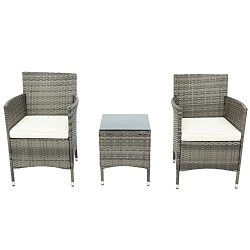 Balkonmöbel Set: 2 Stühle + 1 Tisch Kunststoff Polyrattan Dauerhaft Gartensessel mit Sitzkissen waschbar für Balkon Terrasse Garten (Grau)