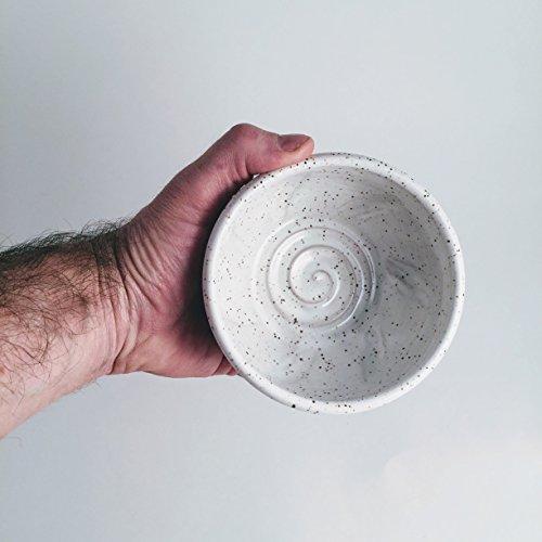 Large White Pottery Shaving Bowl for Men - Handmade