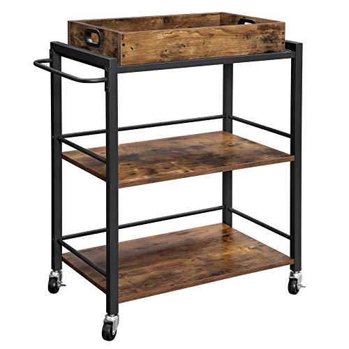 VASAGLE Bar Cart, Kitchen Serving Cart, Utility Cart with Wheels and Handle, Universal Casters with Brakes, Leveling Feet, Rusic Brown and Black ULRC72X