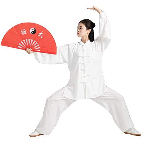 dududrz Tai Chi Abbigliamento Donna Uomo Kung Fu Uniforme Arti Marziali Abbigliamento Poliestere Tai Chi Uniforme,White-XXL