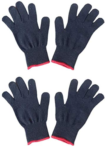 TRYSHA 4 Stks Professionele Hittebestendige Handschoen Voor Haar Styling Warmte Blokkeren Haar Straightener Zwart Katoen handschoenen