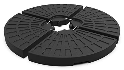 VOUNOT Sonnenschirmständer 4-teilig, Ampelschirmständer, Platten Schirmständer für Ampelschirm mit Bodenkreuz, befüllbar mit 52 L Wasser o. 100 kg Sand, Schwarz