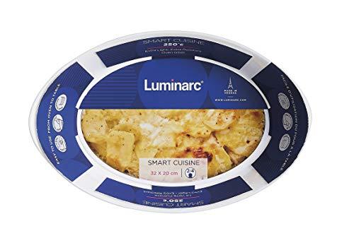 Luminarc - Plat ovale Blanc Smart Cuisine Carine 250°C - Plat à Four en Verre Innovant - Léger et Extra-Résistant - Nettoyage Facile - Fabrication en France - Dimensions 32x20 cm