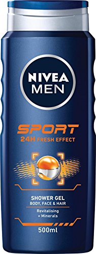 NIVEA MEN Sport Shower Gel (500ml), Revitalising and Nourishing Shower Gel with Minerals, Refreshing Shower for Active Men