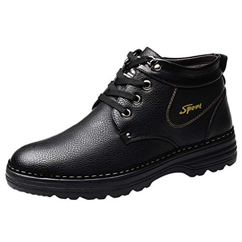 Herren Retro Hohe Stiefel Winter Boots Schnürhalbschuhe Derby Mokassins Casual Schuhe Freizeitschuh mit Inner Flaum(Schwarz/Black,40